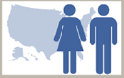 Image of a pale blue map of the United States with dark blue male and female icons layered over it.