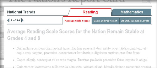 screen shot of typical report card page with top tabbed navigation highlighted