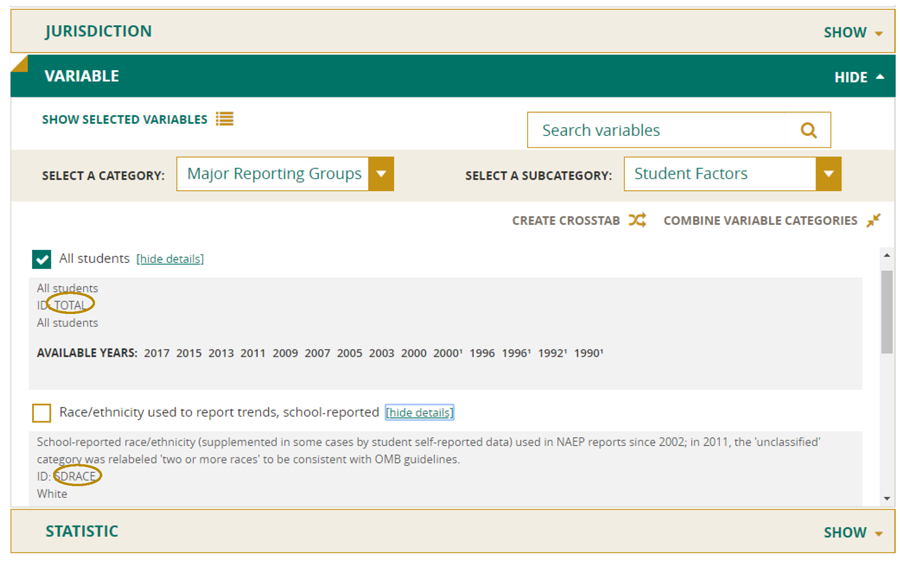 Image from the Nation's Report Card NAEP Data Explorer (NDE) web page showing student variable selection screen. This interface allows users to switch between major reporting groups and student factors. The selected variable has its attributes shown which include student group, category, and all years data is available. There are two examples highlighted with a gold oval. One highlights the TOTAL of All Students and the other highlights SDRACE for Race/ethnicity used to report trends, school-reported category.