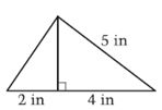 The image is of a large triangle divided within by a line. This line subdivides the large triangle into two smaller triangles and forms one leg for each of them. The base of one small triangle measures 2 inches; no other measurements provided for it. The base of the other small triangle measures 4 inches and its hypotenuse measures 5 inches.