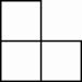 three squares in the following order: square 1, adjacent below square 2, adjacent right square 3