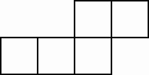 five squares in the following order: square 1, adjacent right square 2, adjacent right square 3, adjacent above square 4, adjacent right square 5