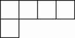 five squares in the following order: square 1, adjacent above square 2, adjacent right square 3, adjacent right square 4, adjacent right square 5