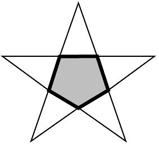 five pointed star with a shaded pentagon in the center
