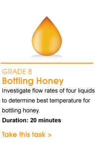 Grade 8 Bottling Honey. Investigate flow rates of four liquids to determine best temperature for bottling honey. Duration: 20 minutes. Take this task.