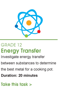 Grade 12 Energy Transfer. Investigate energy transfer between substances to determine the best metal for a cooking pot. Duration: 20 minutes. Take this task.