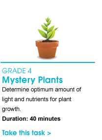 Grade 4 Mystery Plants. Determine optimum amount of light and nutrients for plant growth. Duration: 40 minutes. Take this task.