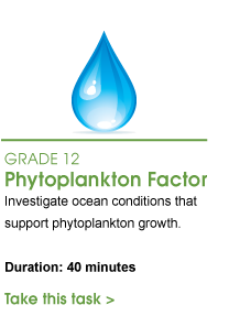 Grade 12 Phytoplankton Factor. Investigate ocean conditions that support phytoplankton growth. Duration: 40 minutes. Take this task.