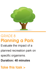 Grade 8 Planning a Park. Evaluate the impact of a planned recreation park on specific organisms. Duration: 40 minutes. Take this task.