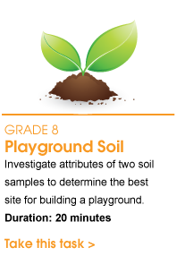 Grade 8 Playground Soil. Investigate attributes of two soil samples to determine the best site for building a playground. Duration: 20 minutes. Take this task.
