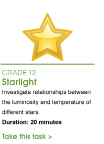 Grade 12 Starlight. Investigate relationships between the luminosity and temperature of different stars. Duration: 20 minutes. Take this task.