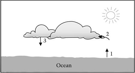 Picture of clouds over the ocean. Ocean has an arrow (labeled 1) pointing up toward a cloud. Another arrow (labeled 2) points into a cloud. Another arrow (labeled 3) points down from a cloud toward the ocean.