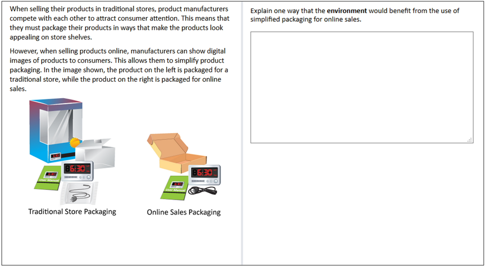 Open-ended question packaging and its environmental impact